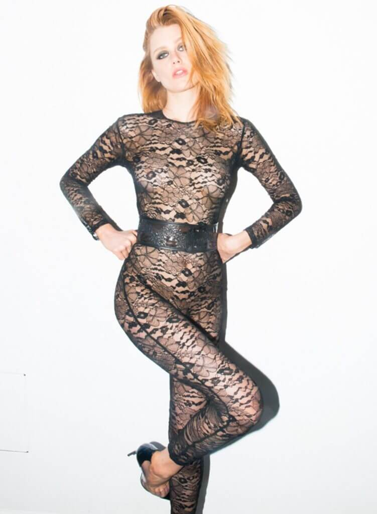 Fleur du Mal. Lingerie Trends - Jumpsuits, Catsuits, Bodysuits. Full body lace catsuit with wide corset belt.