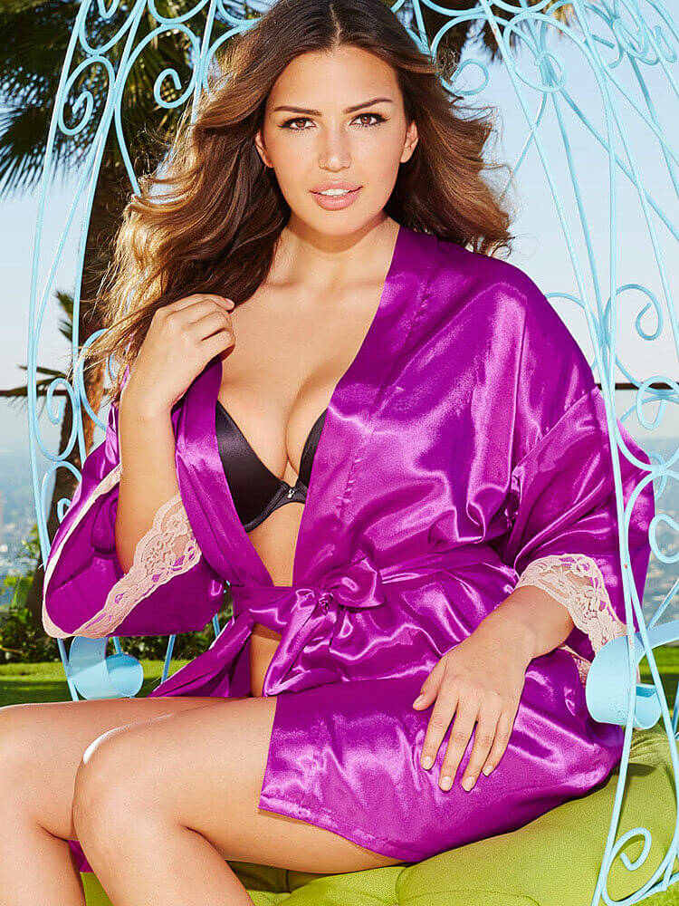 Frederick's of Hollywood Harlow Satin Robe. Was $36.00. Now $24.99.