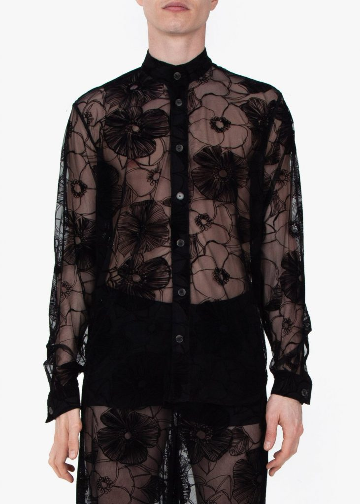 Upper front profile, Fomme Gender Neutral Black Lace Pajamas with flower-patterned flocking. Long sleeve, button up, mesh, shirt.