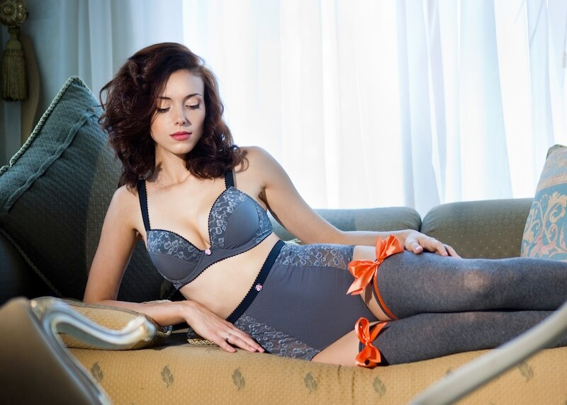 gray lingerie stockings