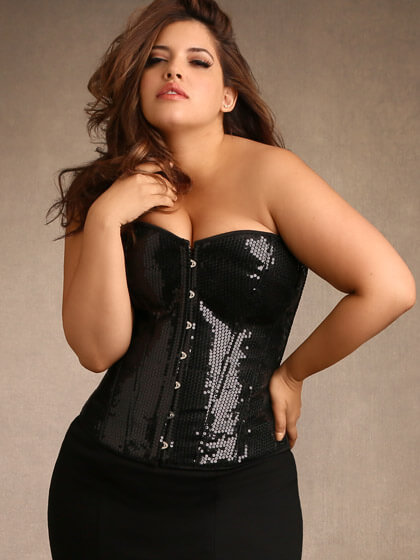 Hips & Curves Plus Size Sequin Corset - $69.95