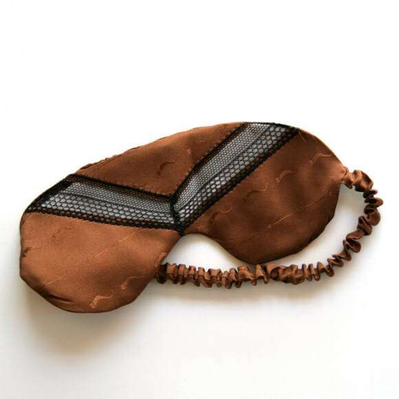 Honeycooler Handmade Brown Silk Vintage Jacquard Sleep Mask