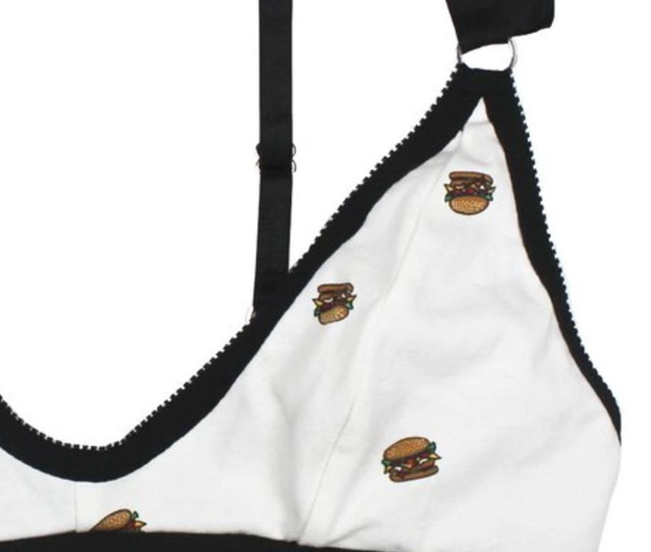Burger Print Detailing of the Mina Bralette by Hopeless Lingerie