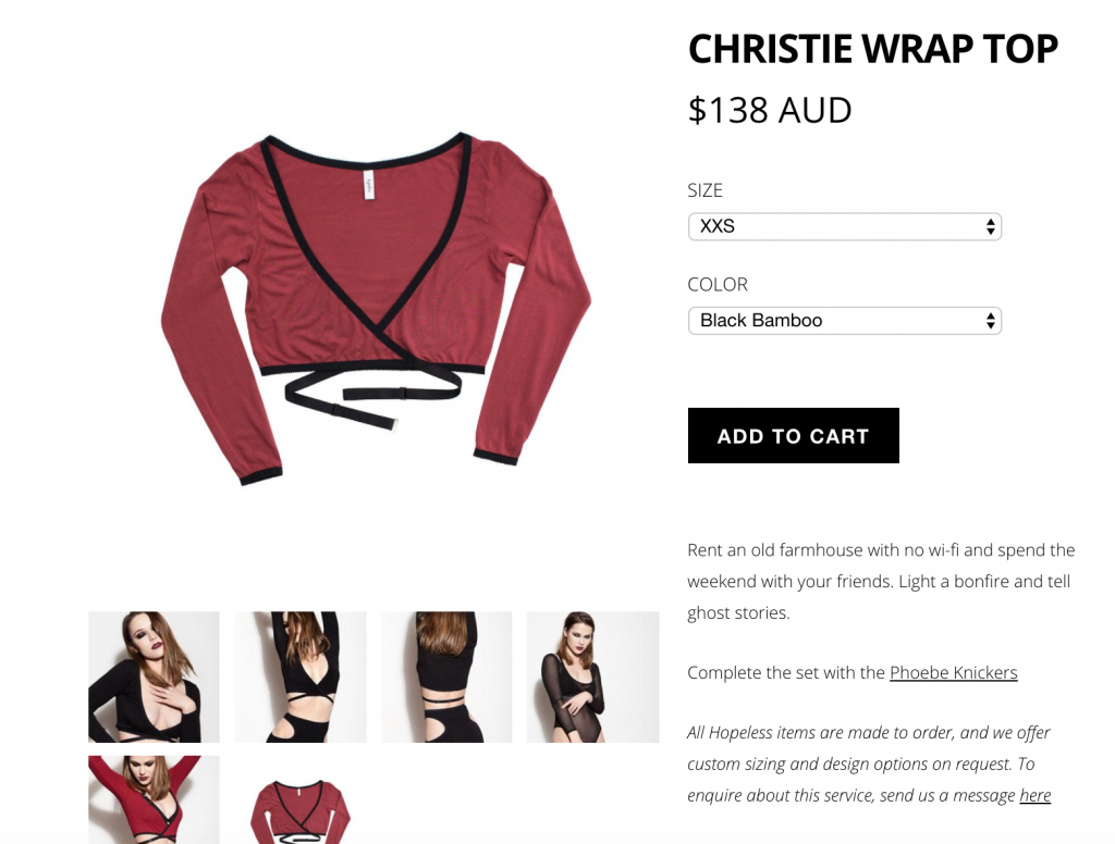 A screenshot of a product page from Hopeless Lingerie