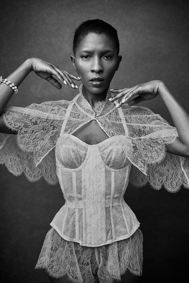 Karolina Laskowska corset, tap pants, cape. Photographed by Laura Sheridan. Model: Tinotenda.