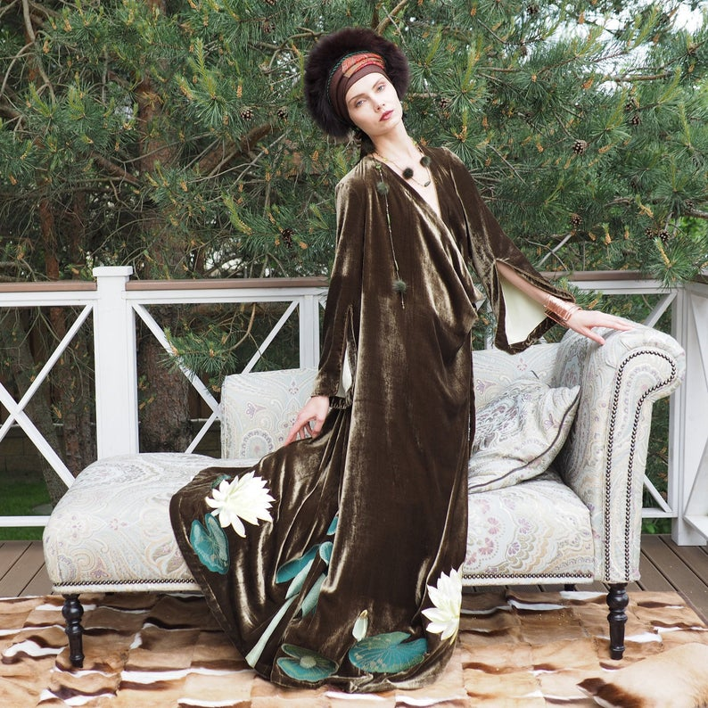 Silk Velvet Caftan with Lotus Embroidery