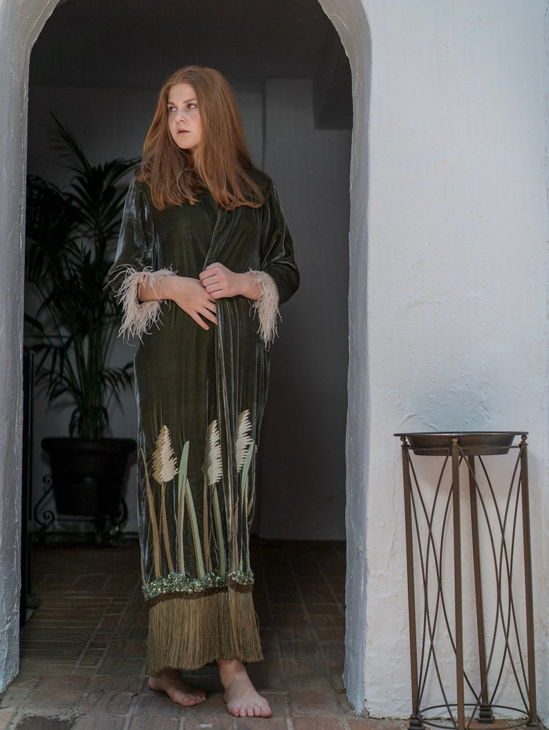 Silk Velvet Caftan with Reeds Embroidery