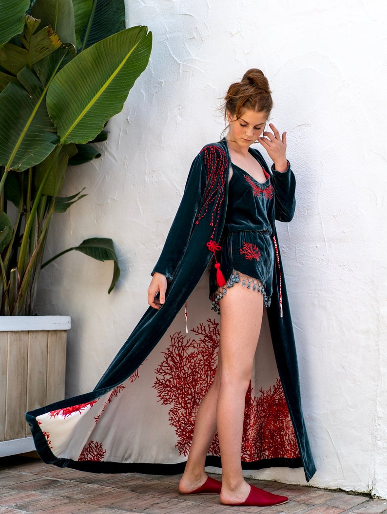 Silk Velvet Caftan with Coral Embroidery