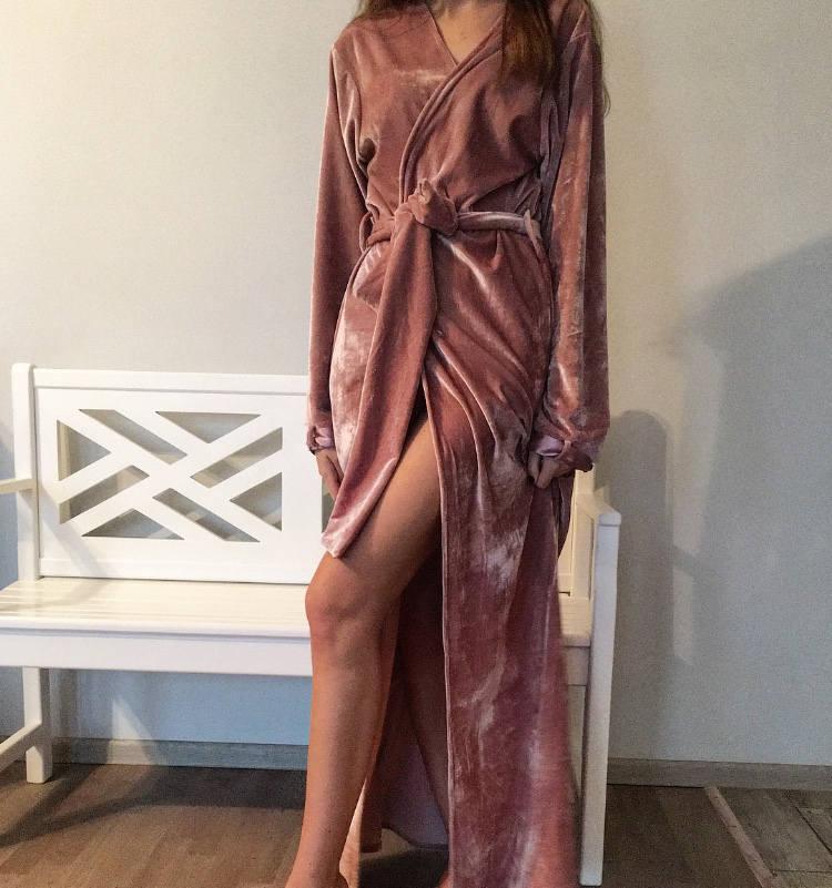 Women's Long Velvet Maxi Robe by Okiya Studio