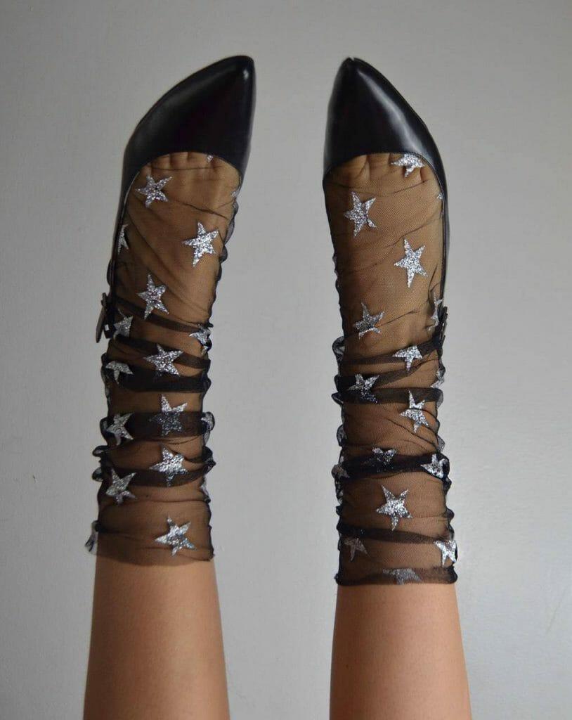 Lirika Matoshi Starry Silver Tulle Socks - Starry, Celestial-Inspired Lingerie