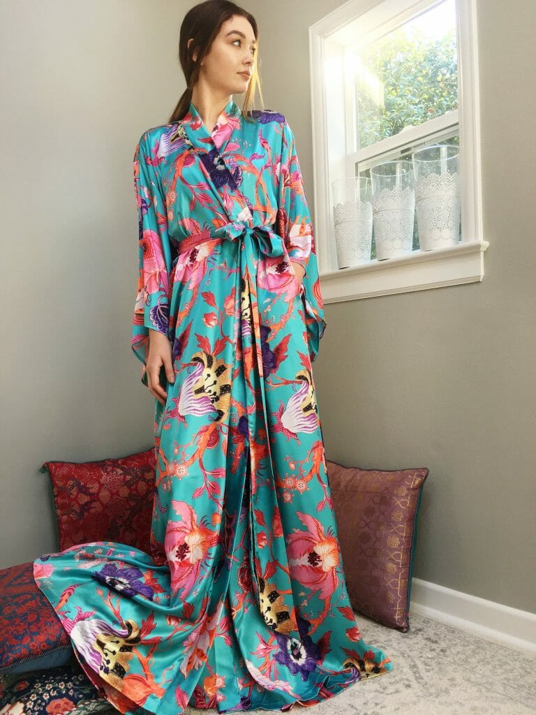 Floral Trellis Robe in Turquoise Print by Singing Slowly