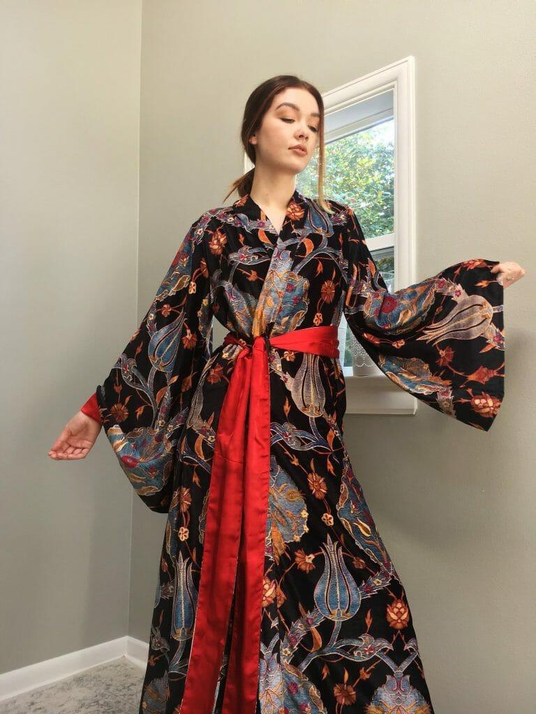 Ottoman Tulips Baroque Italian Velvet Robe by Singing Slowly