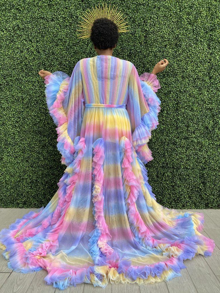 Rainbow floor length ruffle tulle robe by Oywemwen