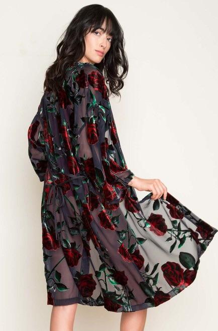 Only Hearts Red Rose Midi Robe - Velvet Devoré Loungewear Trend