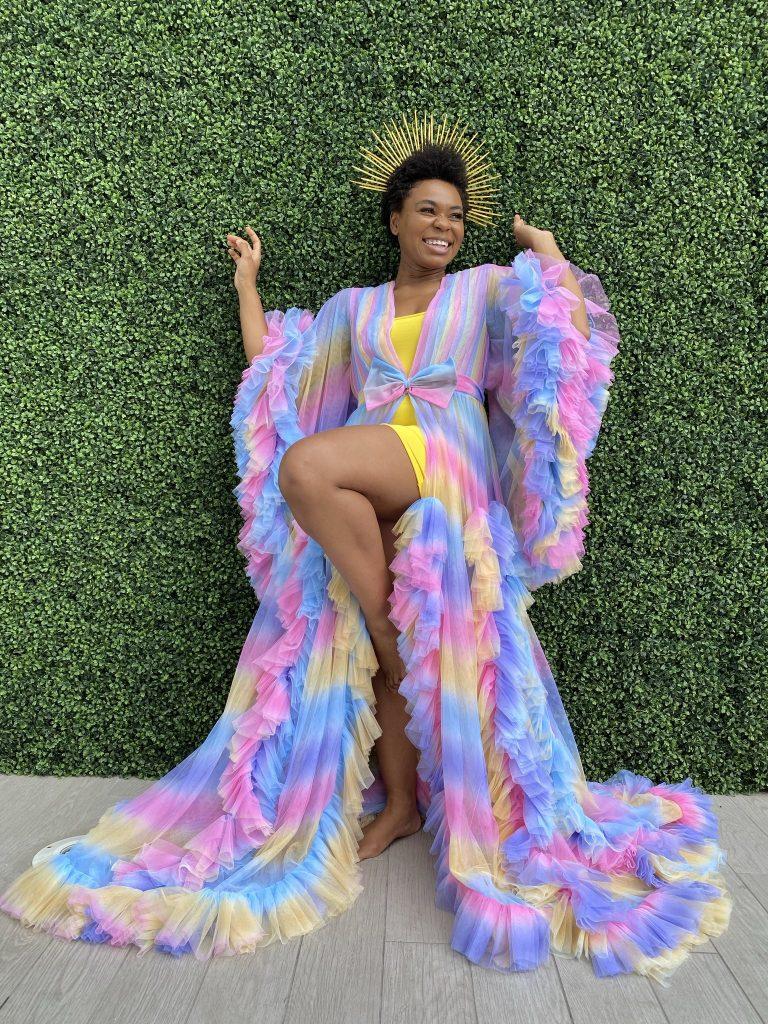 Rainbow ruffle long sleeve floor length robe by Oyemwen