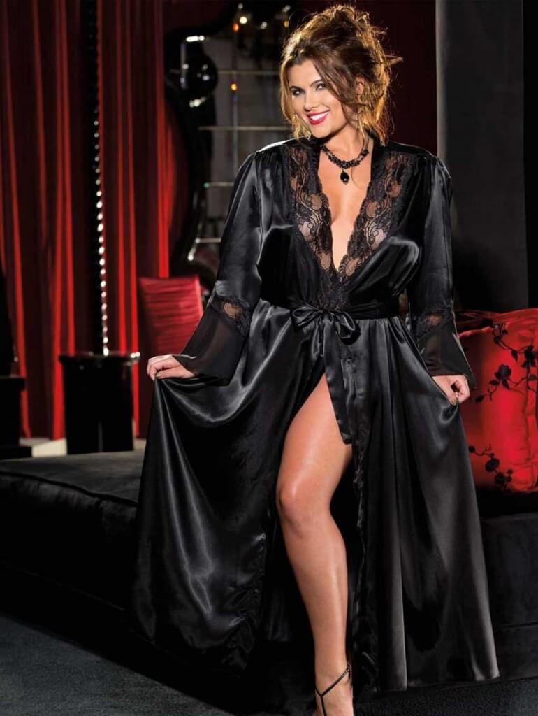 Satin & Lace Robe by Intimate Attitudes