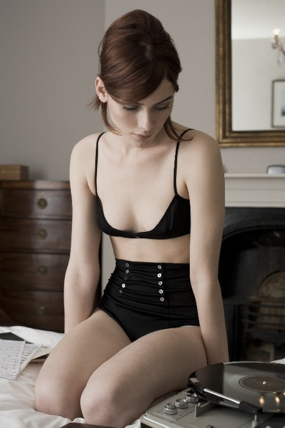 Bra and panty by Wundervoll, who closed in 2012.