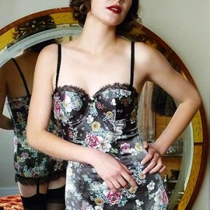 Lingerie of the Week: Jolidon 'Passion Cocoa' Floral Satin Garter Dress
