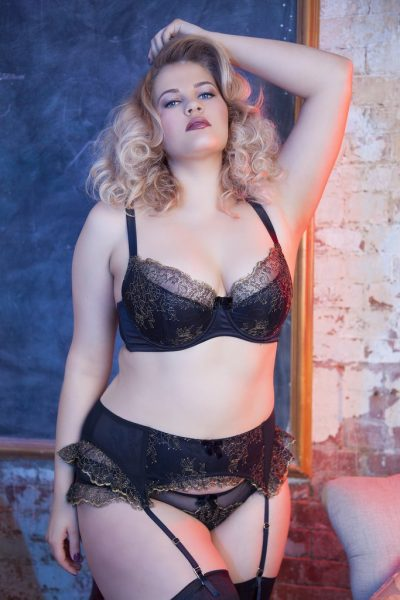 Playful Promises Karine Lace Overlay Suspender, plus size lingerie