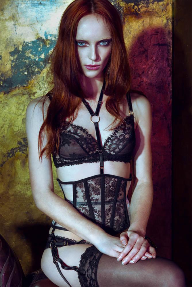 Karolina Laskowska Daniela Eyelash Lace Bra, Corset, and Briefs - £515.00 (approximately $786.02)