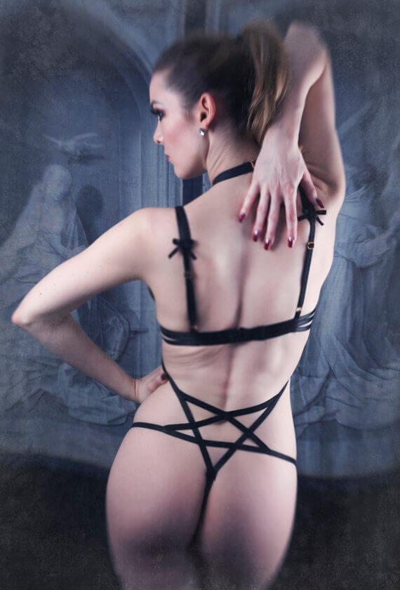 Karolina Laskowska. Lingerie Trends - Strappy, Bondage, Harness. Pentagram thong playsuit.