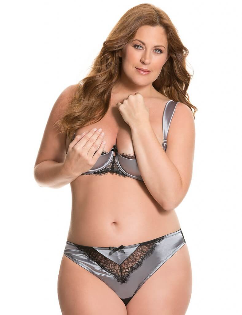 Lane Bryant Satin and Lace Quarter Cup Bra & Thong - $68.00
