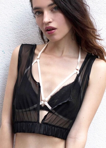 Styled with a harness and soft cup bra. Via Uye Surana.