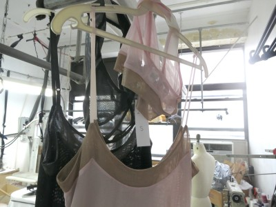 Lola Haze samples hanging in the factory