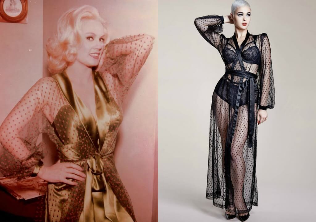 Mamie Van Doren on left. Dita Von Teese 'Lamarr' Robe on right.
