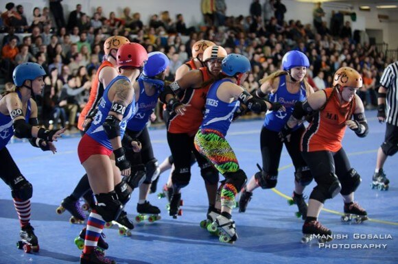 A roller derby jam, photographed by Manish Gosalia