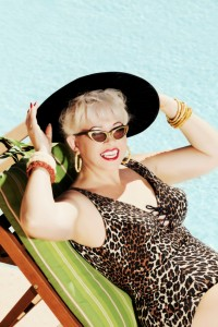 mature woman vintage swimsuit