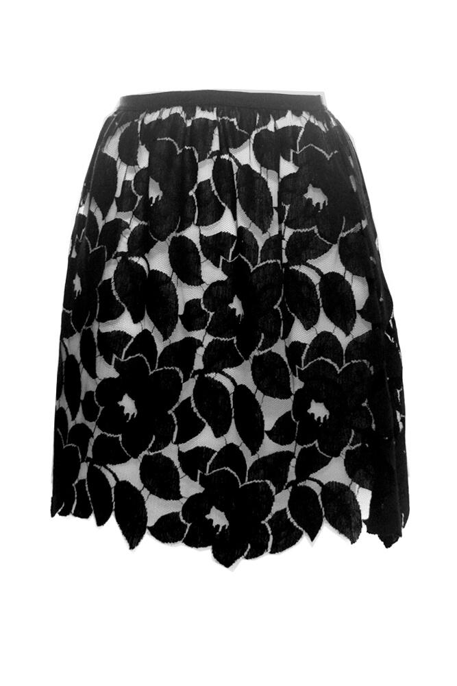 Miss Crofton Velveteen Black Lace Skirt