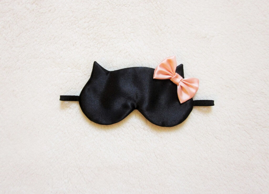 Naomi Lingerie 'Big Bow' Satin Cat Sleep Mask