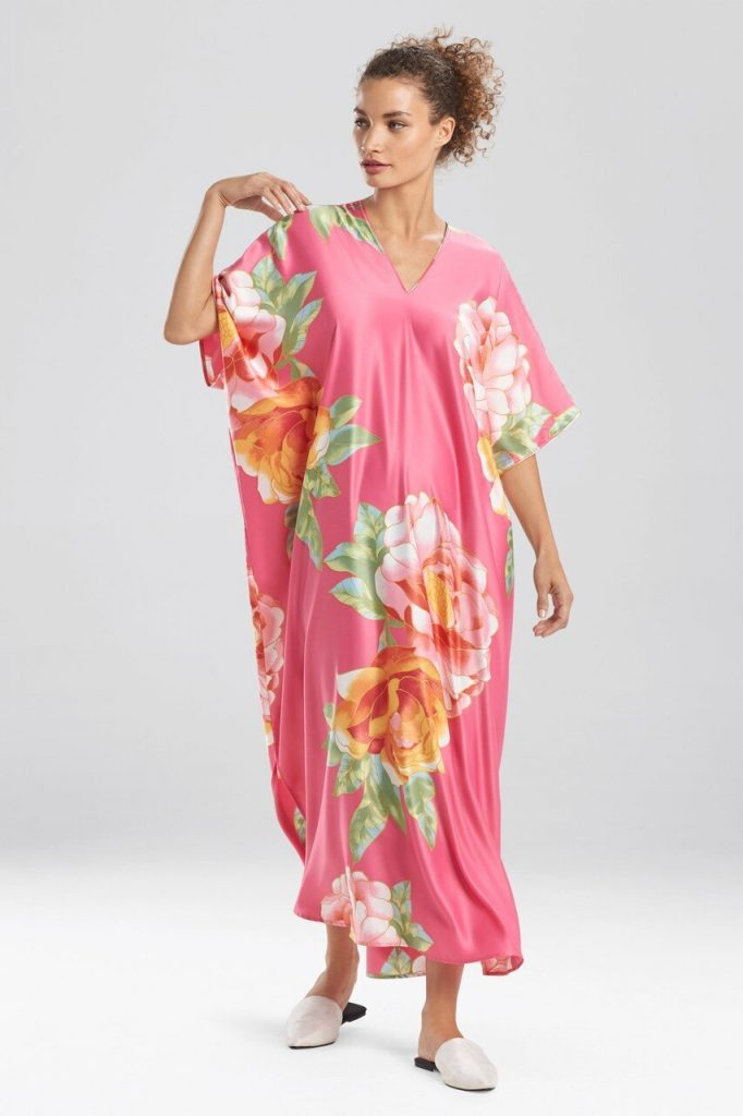Polyester is one of the synthetic fabrics that can be good for summer depending on how it's made. Caftan by Natori.