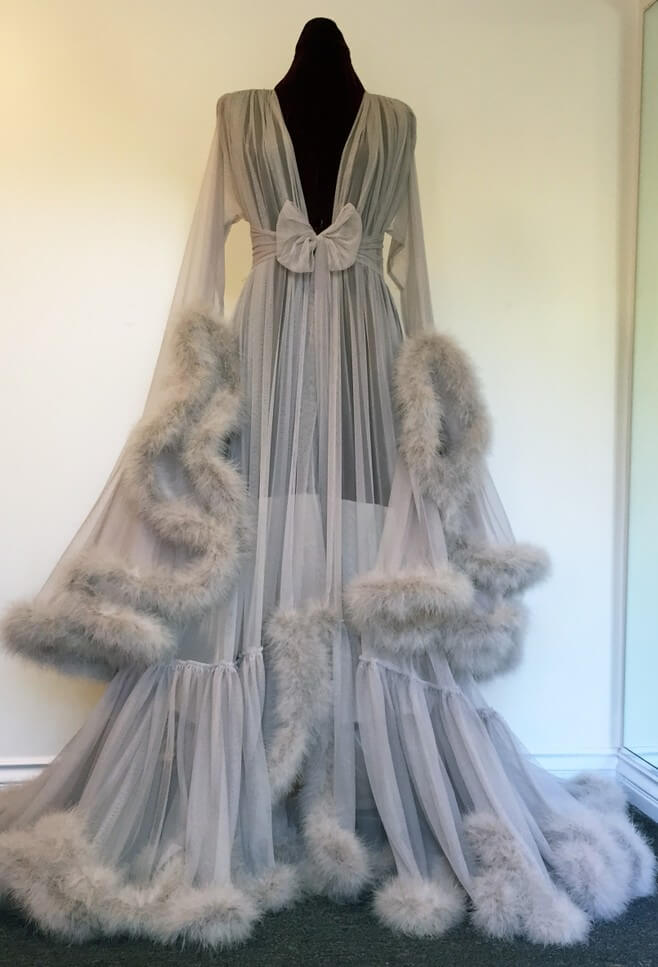 Extravagant Dove Grey Marabou Dressing Gown by Catherine D'Lish