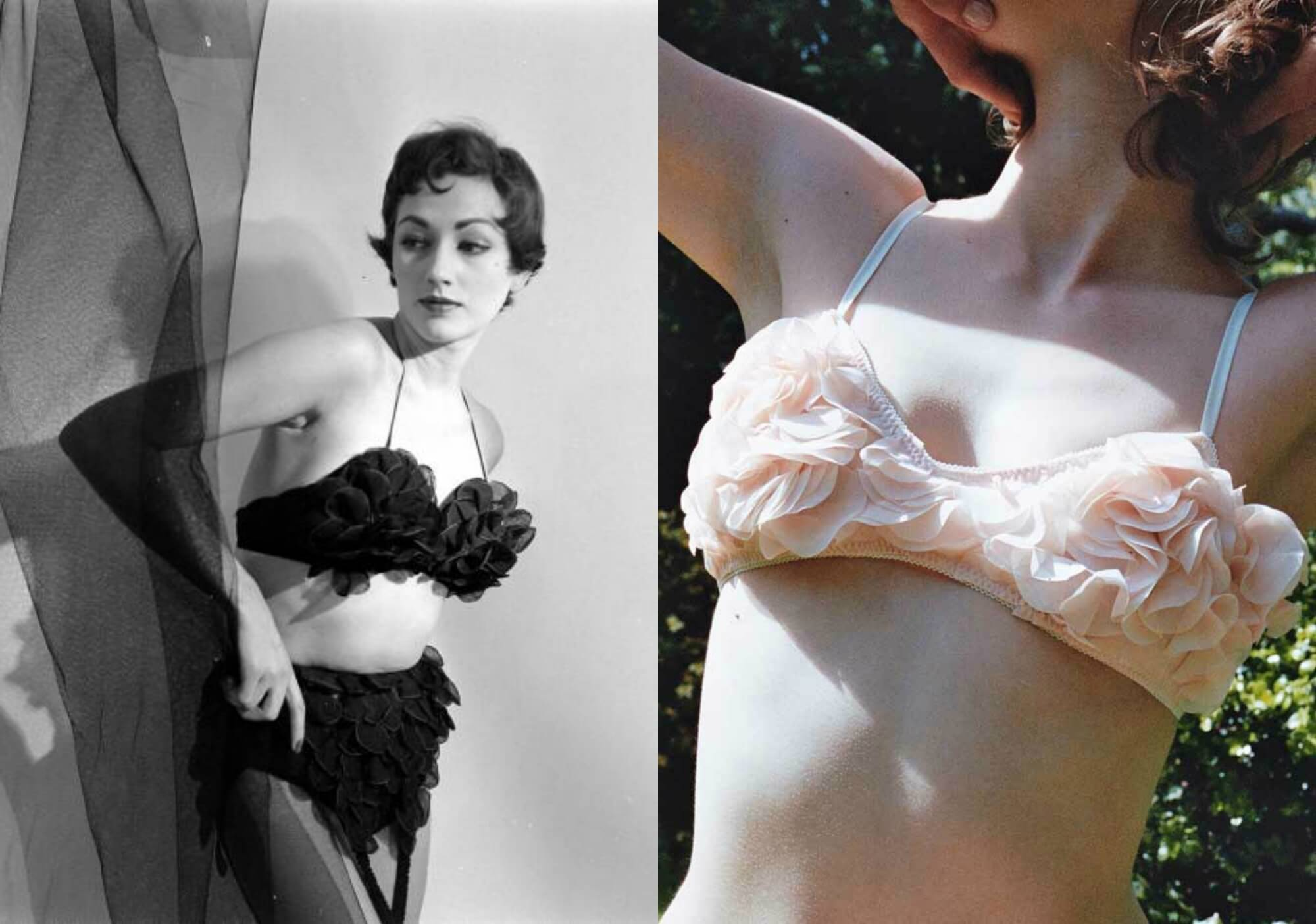 d915fce5d2cfb Vintage bra photographed by Nina Leen on left. Miss Crofton  Blush  bra on