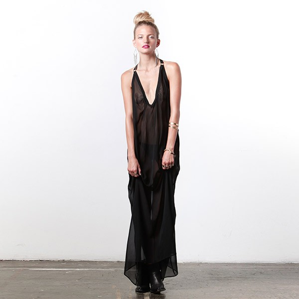 Noe Undergarments 'Alfie' Silk Slip in Black - $285.00