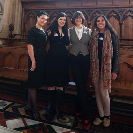Special guests of the Oxford Conference of Corsetry: keynote speaker Autumn Adamme and sponsor Cathy Hay stand with delegates Lucy (of Lucy's Corsetry) and Lowana O'Shea (of Vanyanis). Photo © Laurie Tavan.     Special guests of the Oxford Conference of Corsetry: keynote speaker Autumn Adamme and sponsor Cathy Hay stand with delegates Lucy (of Lucy's Corsetry) and Lowana O'Shea (of Vanyanis). Photo © Laurie Tavan.