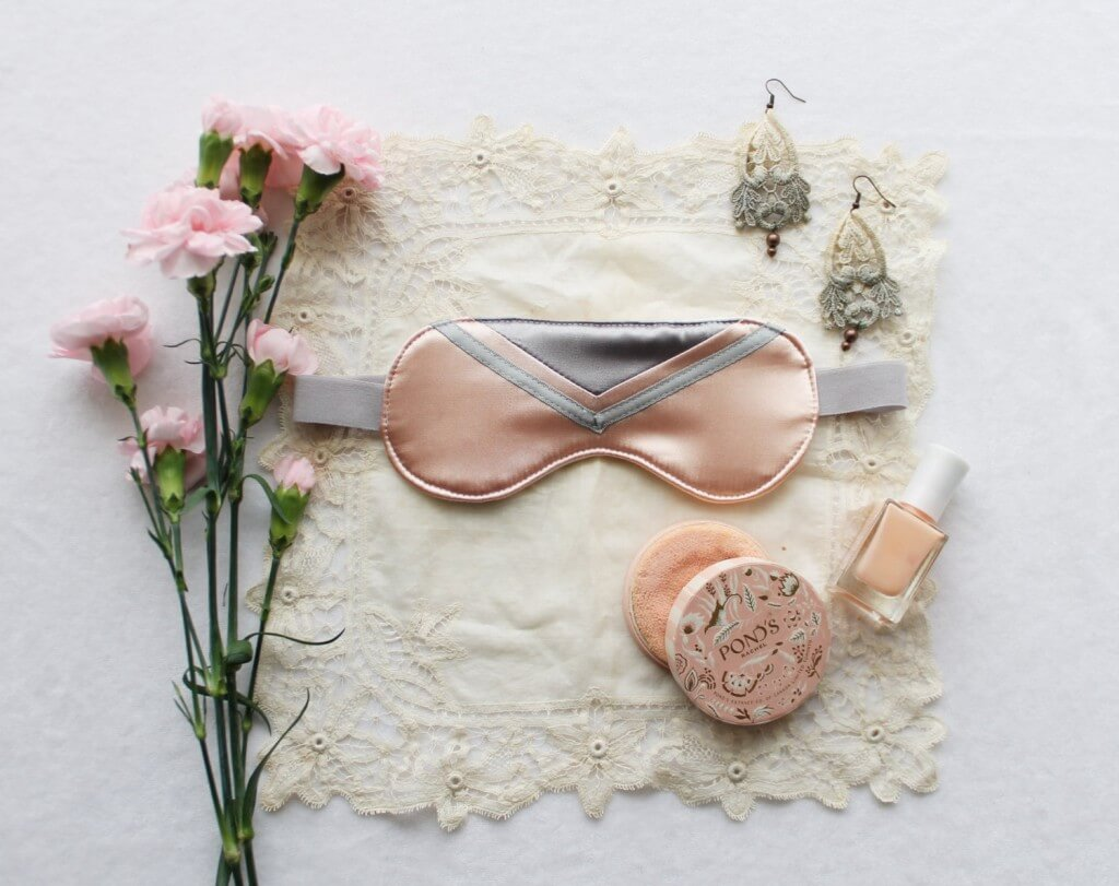Ohhh Lulu Peach and Grey 'Clara' Satin Sleep Mask