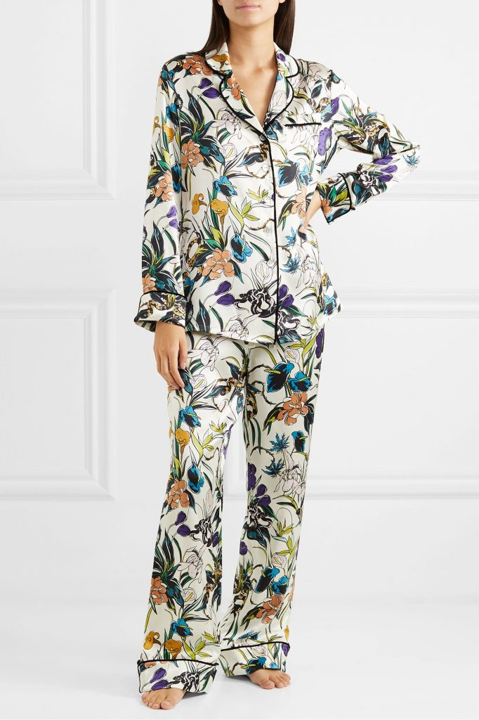 Olivia Von Halle silk pajamas. Silk is one of the best loungewear fabrics.