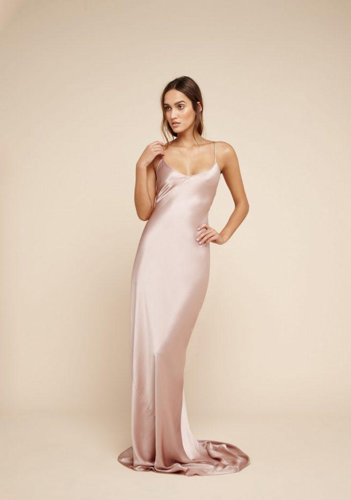 Olivia Von Halle Perminova Oyster Silk Gown