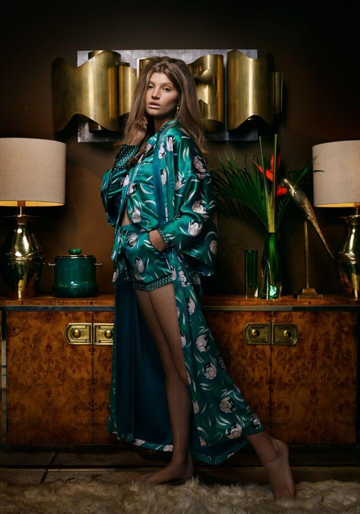 Olivia Von Halle. Lingerie Trends - Luxury Loungewear. Jade green silk floral print pajamas and robe.