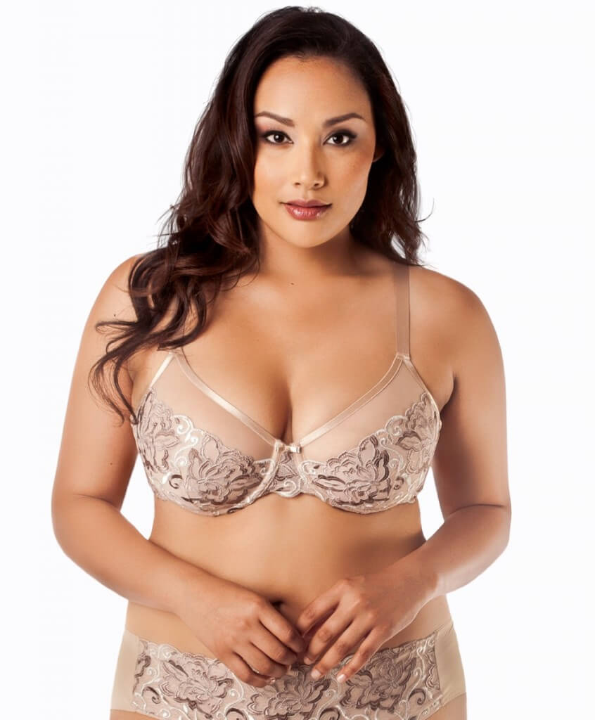 Pearl Lotus Embroidered Underwire Bra by Curvy Couture  36C to 44H (US sizing)