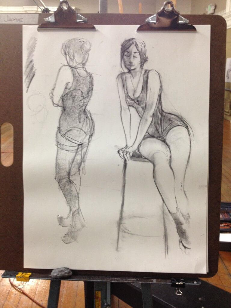 Student sketch in charcoal of me in a corset.