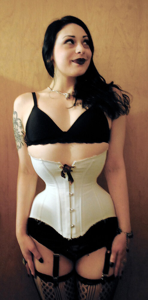 "Elisa Berlin in a mockup fitting for a semi-custom ""Ingenue"" corset by Pop Antique"