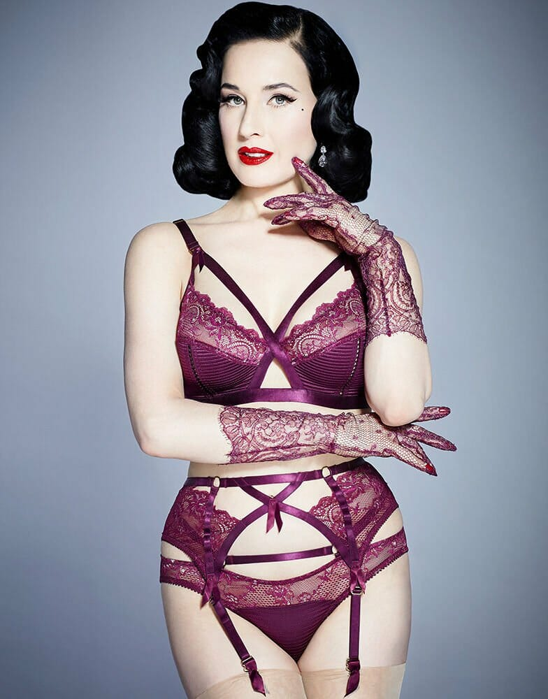 "Dita Von Teese Madame X Lingerie in ""Black Cherry,"" a beautiful take on this season's wine lingerie trend"