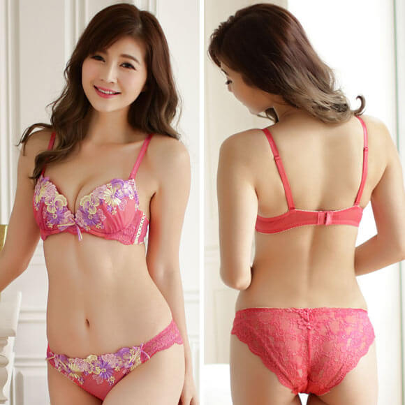 Regalo Spring Flower Lace Bra and Back Lace Panty Set. Japanese Lingerie.