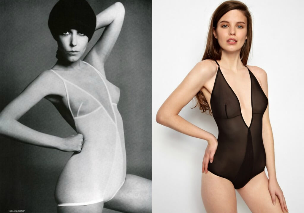 Rudi Gernreich bodysuit on left. Kallisti by Marios Schwab bodysuit on right.