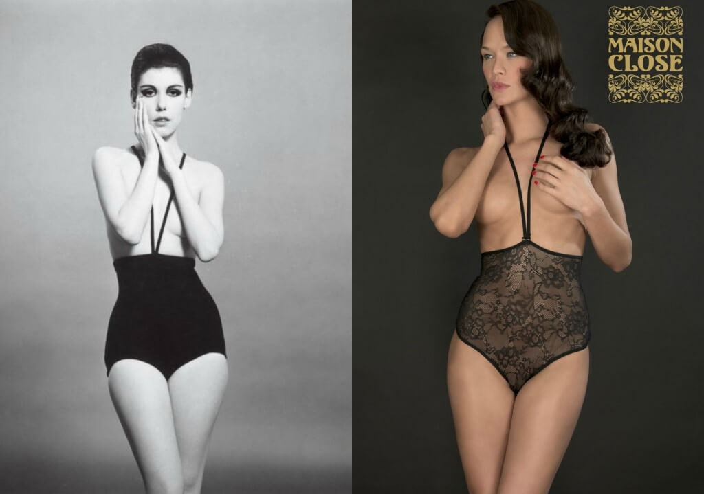 Rudi Gernreich High Waist Strappy Knickers on left. Maison Close High Waist Strappy Knickers on right.