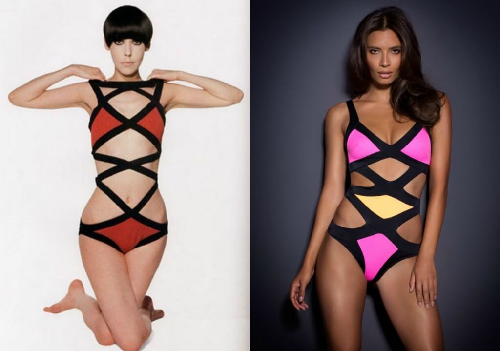 Rudi Gernreich Monokini on left. Agent Provocateur 'Mazzy' Swimsuit on right.